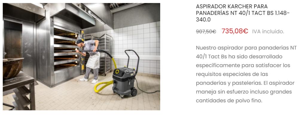Aspirador profesional para limpieza de hornos.